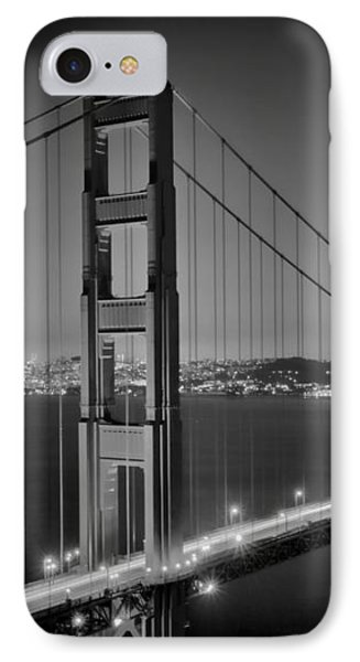 Golden Gate Bridge At Night Monochrome IPhone Case by Melanie Viola
