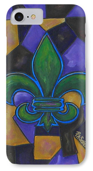 Green Fleur De Lis Phone Case by Patti Schermerhorn