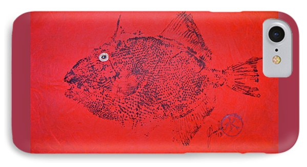 Gyotaku - Triggerfish - Queen Trigger 2 IPhone Case by Jeffrey Canha