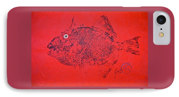 Gyotaku - Triggerfish -  Queen Triggerfish 1 IPhone Case by Jeffrey Canha