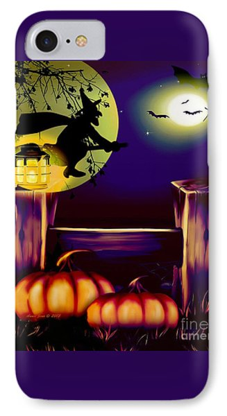 Halloween Witches Moon Bats And Pumpkins IPhone Case