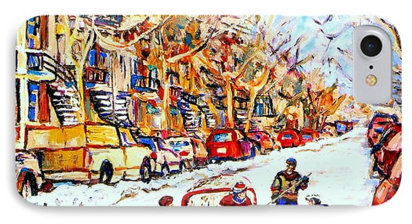 Hockey Game On Colonial Street  Near Roy Montreal City Scene IPhone Case by Carole Spandau