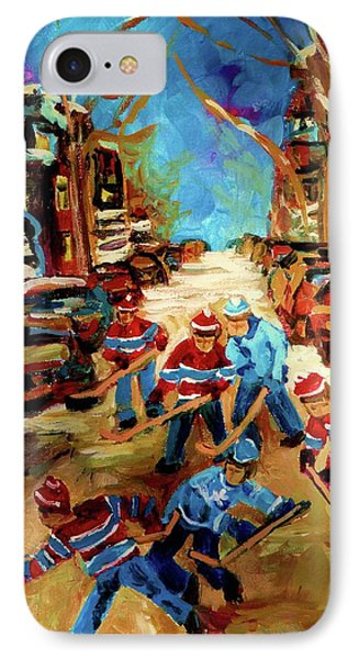 Hockey Paintings Of Montreal St Urbain Street Winterscene Phone Case by Carole Spandau