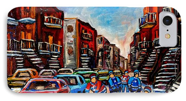 Late Afternoon Street Hockey IPhone Case by Carole Spandau