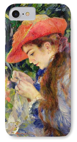 Marie Therese Durand Ruel Sewing IPhone Case by Pierre Auguste Renoir