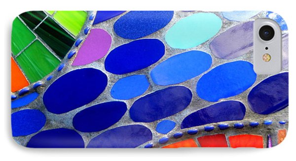 Mosaic Abstract Of The Blue Green Red Orange Stones IPhone Case by Michael Hoard