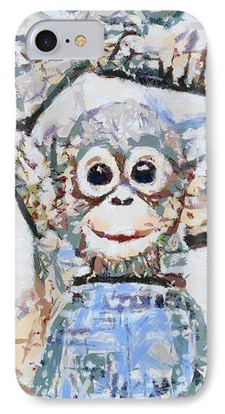 Monkey Rainbow Splattered Fragmented Blue IPhone Case by Catherine Lott