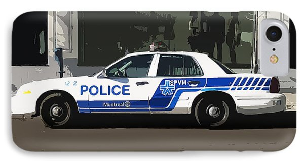 Montreal Police Car Poster Art Phone Case by Reb Frost