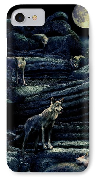 Moonlit Wolf Pack Phone Case by Mal Bray