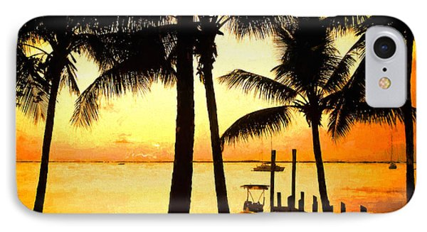 Palm Sunset On The Keys IPhone Case by Judy Kay