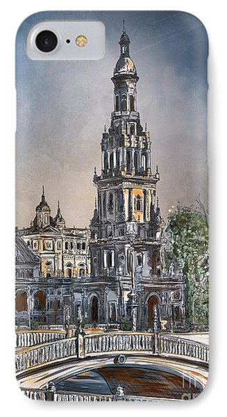 IPhone Case featuring the painting  Plaza De Espana In Seville by Andrzej Szczerski
