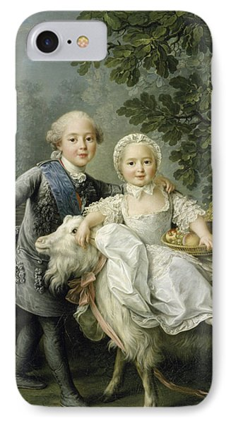 Portrait Of Charles Philippe Of France And His Sister Marie Adelaide IPhone Case by Francois Hubert Drouais
