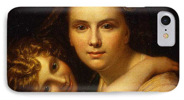 Portrait Of The Artists Wife And Daughter  IPhone Case by Richard Cosway