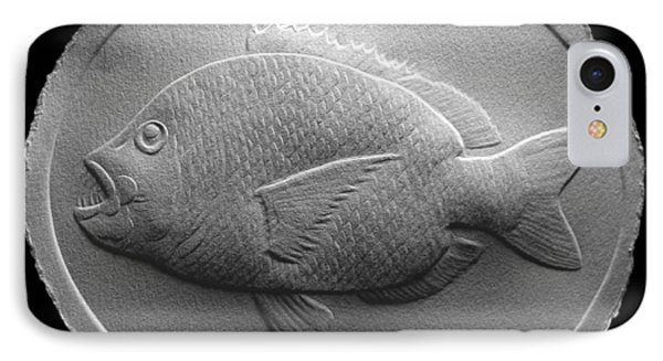 Relief Saltwater Fish Drawing IPhone Case by Suhas Tavkar