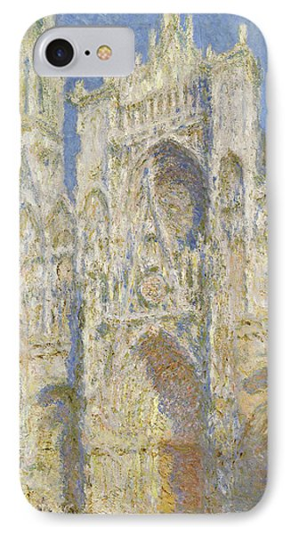 Rouen Cathedral West Facade Sunlight IPhone Case by Claude Monet