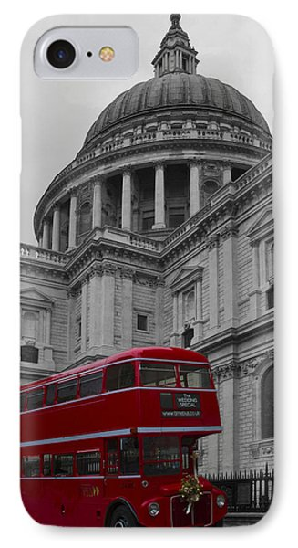St Pauls Cathedral Red Bus IPhone Case by David French