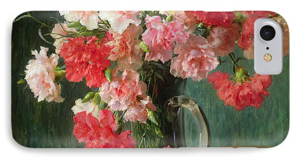 Still Life Of Carnations   IPhone Case by Emile Vernon