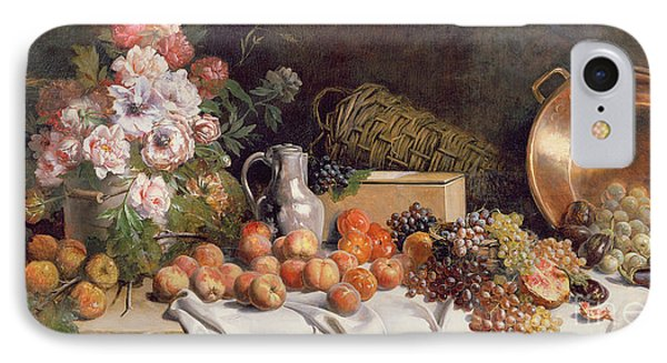 Still Life With Flowers And Fruit On A Table IPhone Case by Alfred Petit
