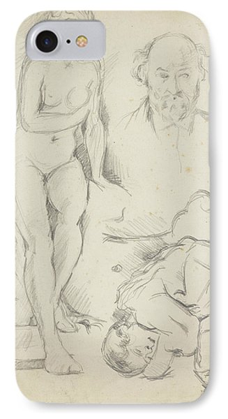 Studies Of Three Figures Including A Self-portrait  IPhone Case by Paul Cezanne