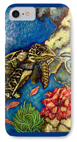 IPhone Case featuring the painting  Sweet Mystery Of The Sea A Hawksbill Sea Turtle Coasting In The Coral Reefs Original by Kimberlee Baxter