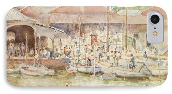 The Market Belize British Honduras IPhone Case by Henry Scott Tuke