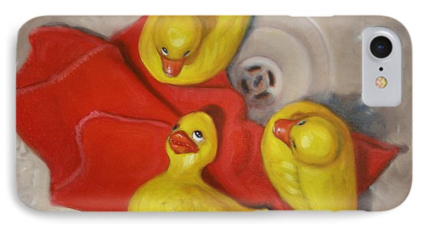 IPhone Case featuring the painting  Three Rubber Ducks  #1 by Donelli  DiMaria