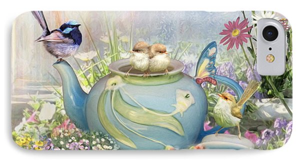 IPhone Case featuring the digital art  Tiny Tea Party by Trudi Simmonds