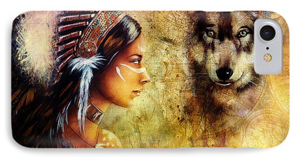 Young Indian Woman Wearing  With  Wolf And Feather Headdress IPhone Case