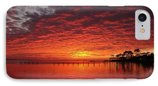 0205 Awesome Sunset Colors On Santa Rosa Sound IPhone Case by Jeff at JSJ Photography