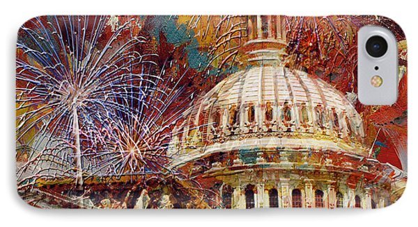 Capitol Building iPhone 7 Case - 070 United States Capitol Building - Us Independence Day Celebration Fireworks by Maryam Mughal