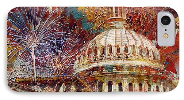 070 United States Capitol Building - Us Independence Day Celebration Fireworks IPhone 7 Case by Maryam Mughal