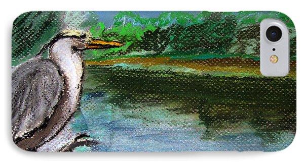 071115 Blue Heron Pastel Sketch IPhone Case by Garland Oldham