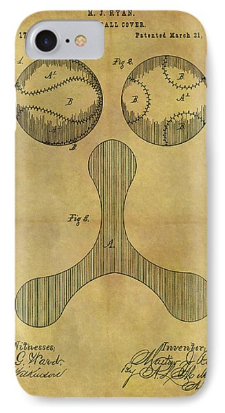 1876 Baseball Patent IPhone Case by Dan Sproul