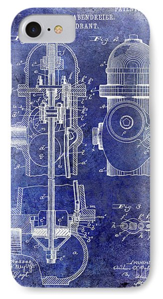 1903 Fire Hydrant Patent Blue IPhone Case