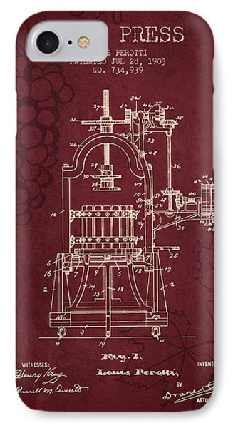 1903 Wine Press Patent - Red Wine IPhone Case by Aged Pixel