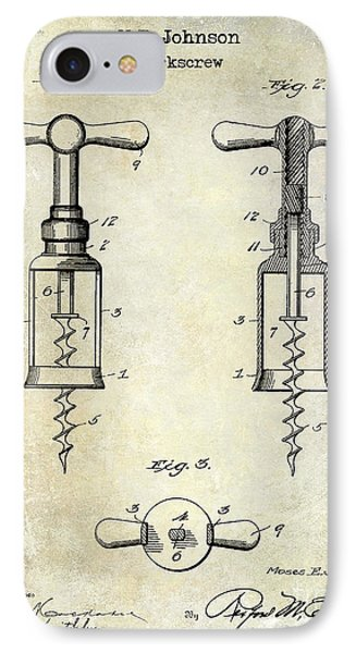 1907 Corkscrew Patent  IPhone Case by Jon Neidert