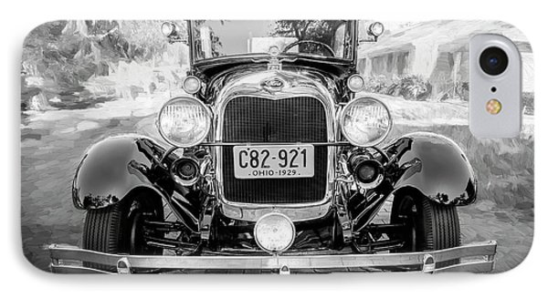 IPhone Case featuring the photograph 1929 Ford Model A Tudor Police Sedan Bw by Rich Franco