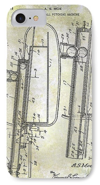 1951 Baseball Pitching Machine Patent IPhone Case by Jon Neidert