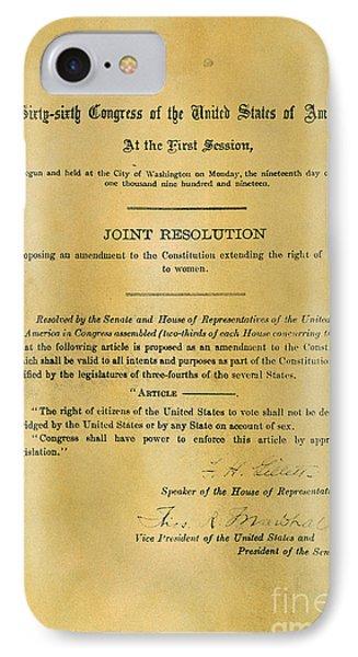 19th Amendment, 1919 IPhone Case by Granger