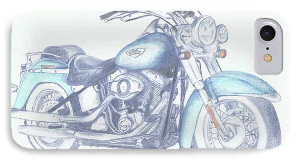 IPhone Case featuring the drawing 2015 Softail by Terry Frederick