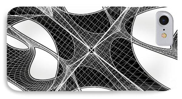 3d Geometric Organic Wireframe Shape IPhone Case by Nenad Cerovic