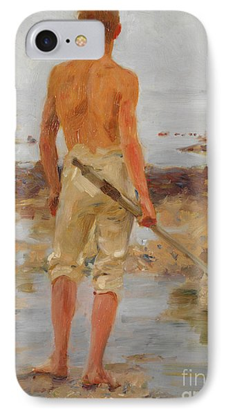 A Boy With An Oar  IPhone Case by Henry Scott Tuke