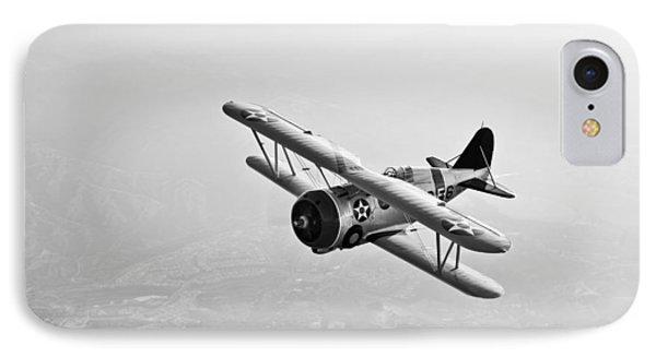 A Grumman F3f Biplane In Flight Phone Case by Scott Germain