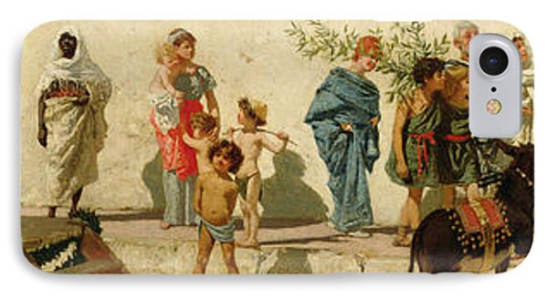 A Roman Street Scene With Musicians And A Performing Monkey IPhone Case by Modesto Faustini