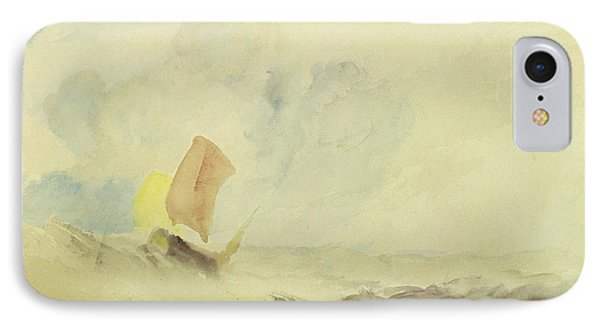 A Sea Piece  A Rough Sea With A Fishing Boat IPhone Case by Joseph Mallord William Turner