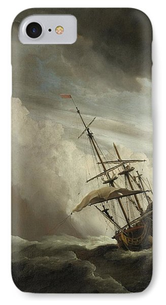 A Ship On The High Seas Caught By A Squall IPhone Case by Willem van de Velde