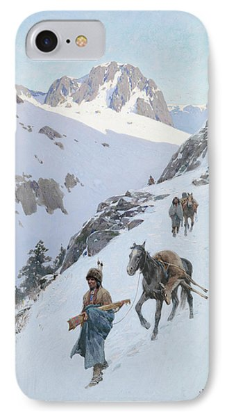 IPhone Case featuring the drawing A Successful Hunt by Henry Francois Farny