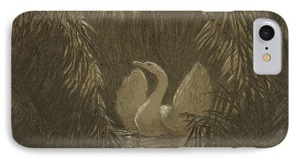 A Swan Among The Reeds, By Moonlight IPhone Case
