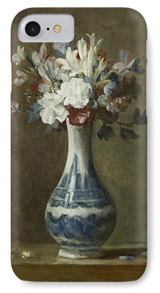 A Vase Of Flowers IPhone Case by Jean-Baptiste-Simeon Chardin