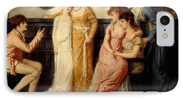 A Youth Relating Tales To Ladies IPhone Case by Simeon Solomon